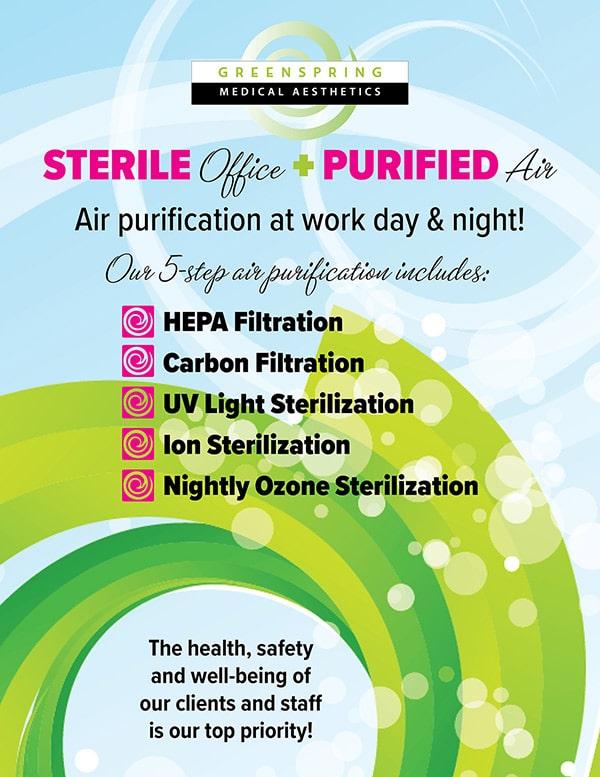 Greenspring Medspa air purification and sterilization